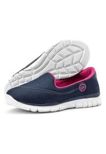 Tênis Caminhada Feminino Esportivo Sapatilhas Slipper Sapatore Azul