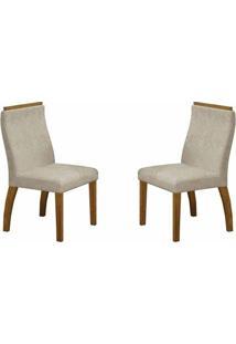 Conjunto 2 Cadeiras De Jantar Euro Animale Crú/Imbuia Mel - Leifer Móveis