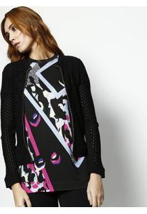 Jaqueta Em Tricô Com Seda - Preta - Versaceversace