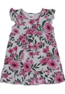 Vestido Floral Com Recorte - Cinza & Rosa -Primeirostip Top