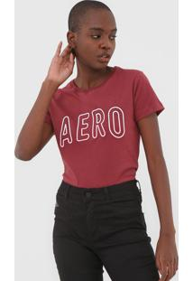 Camiseta Aeropostale Logo Vinho - Vinho - Feminino - Algodã£O - Dafiti