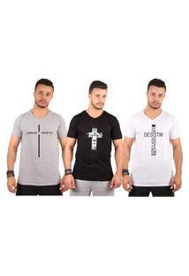 Kit C/3 Un Blusa Camisa Camiseta Masculina Gola V Baratas