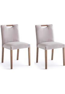 Conjunto Com 2 Cadeiras De Jantar Courve Cinza E Imbuia
