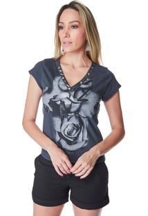 T-Shirt Celestine Estampada Flores Cinza