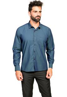 Camisa Manga Longa Tony Menswear Sr. Algodão Com Bolso Azul Escuro