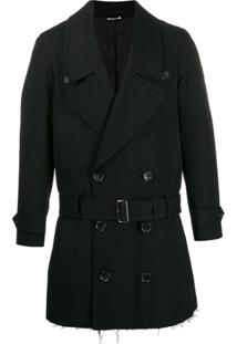 Comme Des Garçons Homme Plus Boxy Fit Belted Double-Breasted Coat - Preto