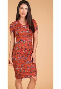 Vestido Moda Evangélica Floral Laranja