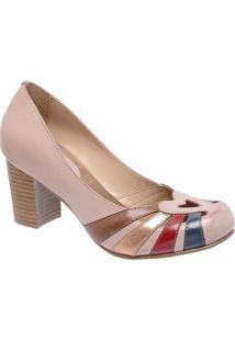 bbfe1e551 Sapato Tradicional Em Couro Com Recortes Vazados - Nude Montelli