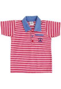Camisa Polo Bebê Lápis De Cor Listrado Masculino - Masculino-Vermelho 672fb048aa050