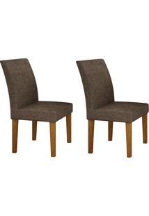 Conjunto Com 2 Cadeiras Olímpia Imbuia Mel E Linho Marrom