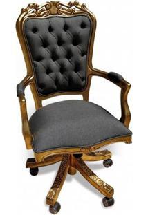 Cadeira Giratória Luiz Xv Capitonê Madeira Maciça Design De Luxo Peça Artesanal