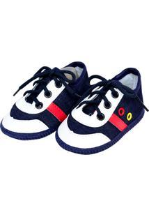 Tênis Moderno Jeans Sapatinhos Baby Azul-Marinho E Vermelha