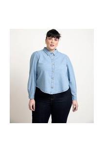 Camisa Jeans Com Mangas Bufante Curve & Plus Size   Ashua Curve E Plus Size   Azul   G