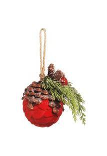 Enfeite Árvore Natal De Pendurar Pinha Redonda Vermelha 10Cm