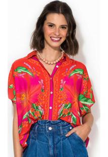 Camisa Cropped Lenço Floral Pietra Rosa