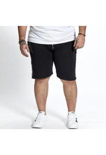 Bermuda Moletom Plus Size Bolso Besni Masculina - Masculino-Preto