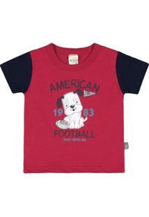 Camiseta Bebê Pulla Bulla Meia Malha Masculina - Masculino-Vermelho