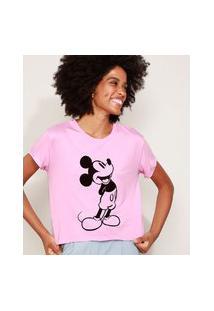 Camiseta De Moletinho Feminina Mickey Manga Curta Decote Redondo Rosa