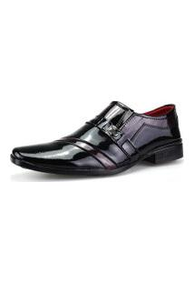 Sapato Social Dhl Calçados Neway Verniz Preto E Vinho