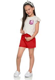 Shorts De Moletom Infantil Vermelho