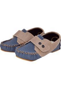 Mocassim Tricae Ilhoses Infantil Azul/Bege