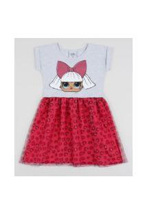 Vestido Infantil Lol Surprise Manga Curta Com Tule Cinza