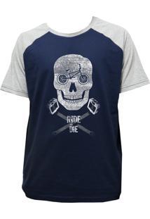 Camiseta Alkary Raglan Manga Curta Bmx Caveira Marinho E Mescla