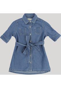 Vestido Chemise Jeans Infantil Com Bolsos Manga Curta Azul Médio