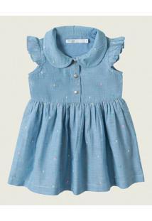 Vestido Godê Em Popeline Malwee Kids Azul - P