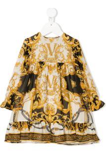 Young Versace Vestido Godê Com Estampa Barroca - Branco