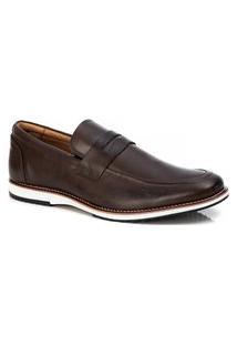 Sapato Social Masculino Loafer Em Couro Café