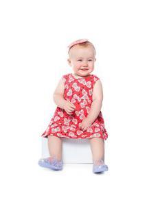 Vestido Bebê Abrange Corações Vermelho Abrange Casual Vermelho
