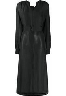 Remain Vestido Gola V Com Cinto - Preto
