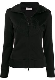 Moncler Zip-Up Logo Sweatshirt - Preto