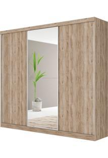 Guarda-Roupa Dubai Robel Cedro Madeirado 3 Portas De Correr Com Espelhos