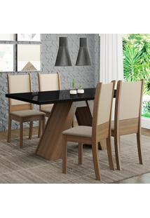 Conjunto Sala De Jantar Madesa Dafne Mesa Tampo De Vidro Com 4 Cadeiras - Rustic/Preto/Crema/Bege Marrom - Marrom - Dafiti