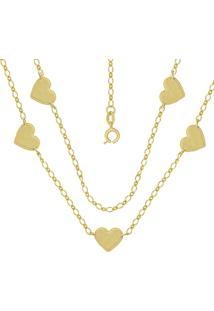 Gargantilha Prata Mil Com 5 Corações 12Mm Liso Dourado
