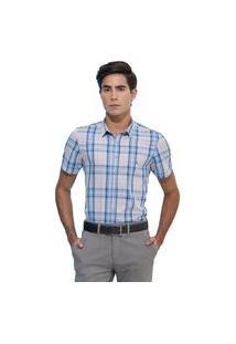 Camisa Slim Zaiko Xadrez Manga Curta 2108 Azul