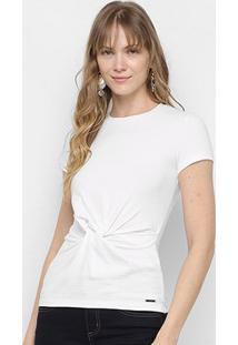 Camiseta Colcci Nó Manga Curta Feminina - Feminino-Off White