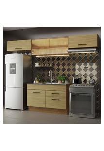 Cozinha Compacta Madesa Agata 280001 Com Armário E Balcáo - Rustic/Carvalho Marrom