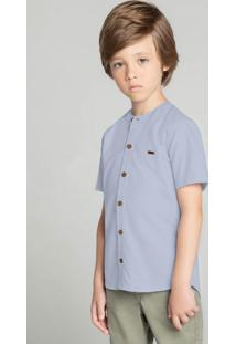 Camisa Azul Tradicional Maquinetada Menino