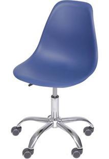 Cadeira Eames Com Rodizio Polipropileno Azul Marinho - 49332 - Sun House