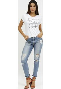"""Camiseta """"A B C D..."""" Com Luzes- Branca & Preta- Coccoca-Cola"""