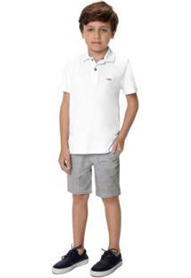 Conjunto Branco Camisa Polo Com Bordado Menino