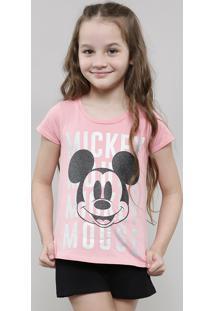 Blusa Infantil Mickey Metalizado Manga Curta Rosa