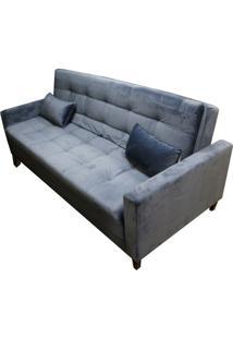 Sofa Cama Minimal Com 2 Lugares Assento Veludo Azul Base Madeira - 53374 Sun House