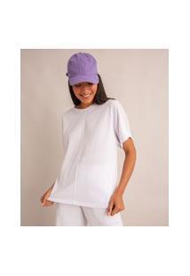 Camiseta Oversized Básica De Algodão Manga Curta Decote Redondo Com Recorte Branco