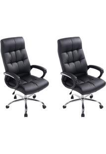 Conjunto Com 2 Cadeiras De Escritório Presidente Marjo Preto