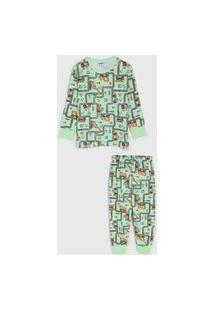 Pijama Fakini Longo Infantil Street Verde/Cinza