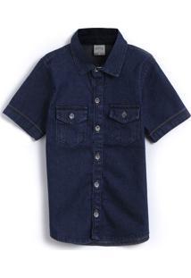 Camisa Jeans Alakazoo Menino Lisa Azul-Marinho